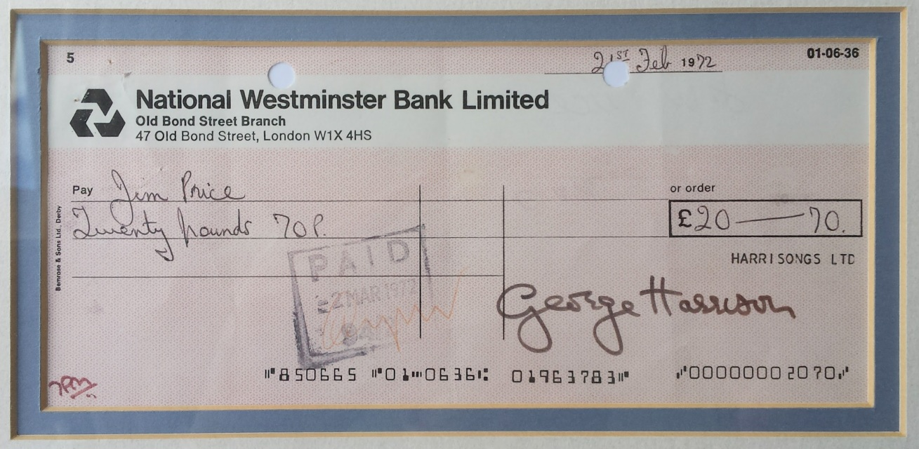 1972 George Harrison Signed Cheque Framed Display