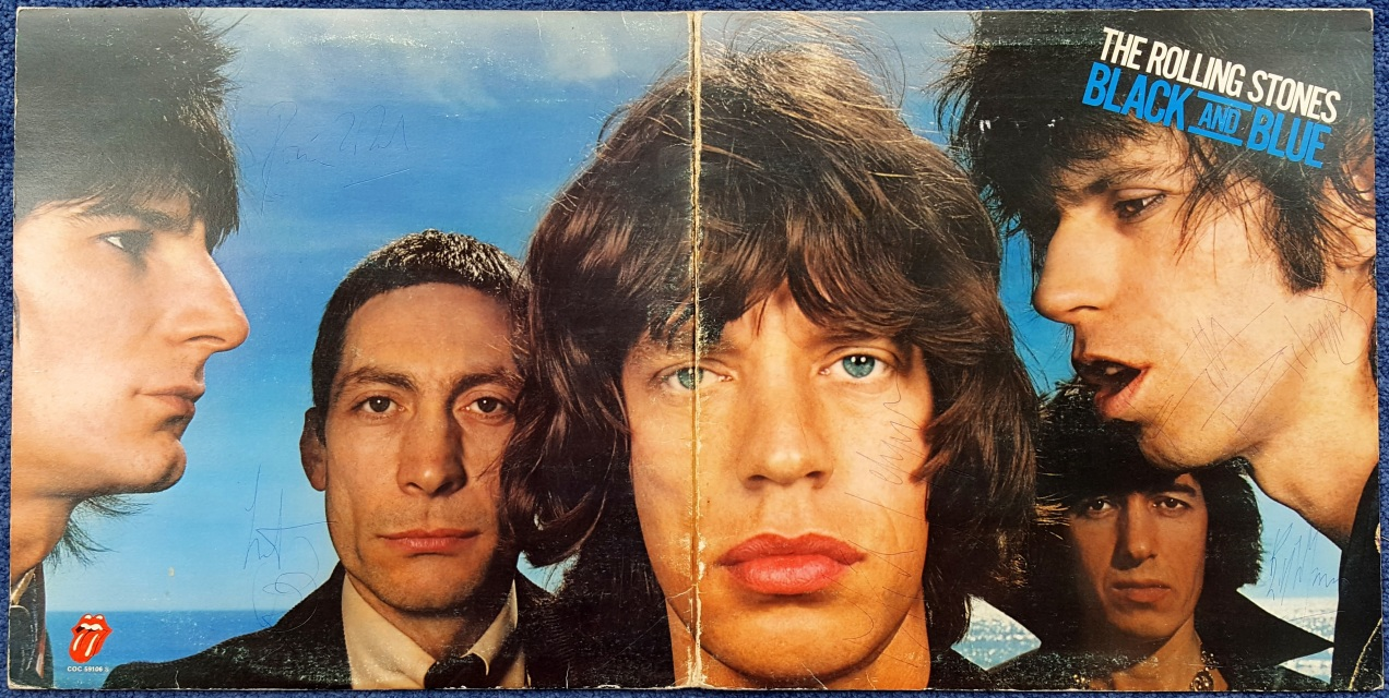 The Rolling Stones Black And Blue Lp Cover Fully Signed